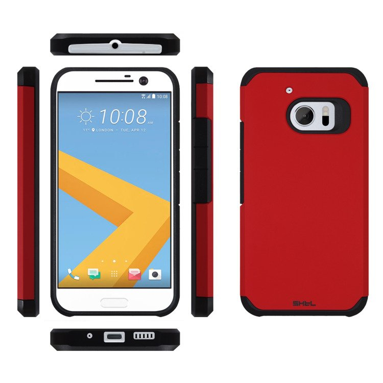 shtl dual armor case for htc 10 one m10 red red htc one m10. Black Bedroom Furniture Sets. Home Design Ideas
