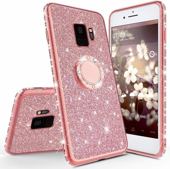 Etui Bling do Samsung Galaxy S9, Rose Gold