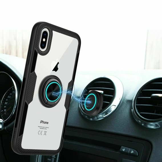 Etui Clear Ring do iPhone X / XS - carbon black