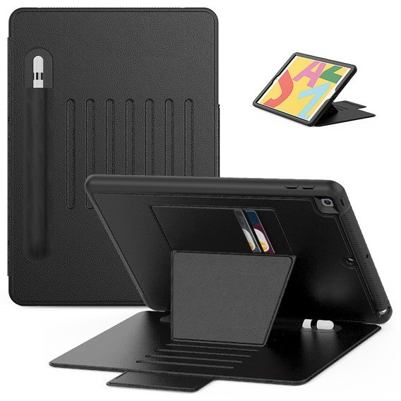Etui Creative Magnetic Stand Leather Case with Pen Slot do iPad 10.2 - Black