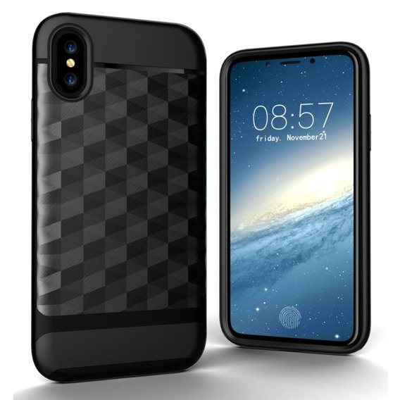 Etui Rhombus Hybrid Gel Case iPhone X/XS - Black