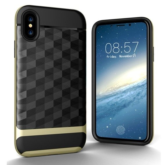 Etui Rhombus Hybrid Gel Case iPhone X/XS - Gold