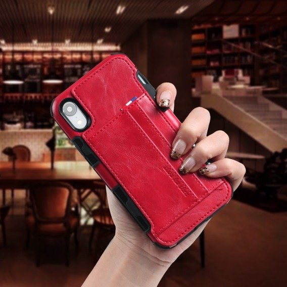 Etui Two Cards Hybrid Case iPhone XR 6.1 - Red