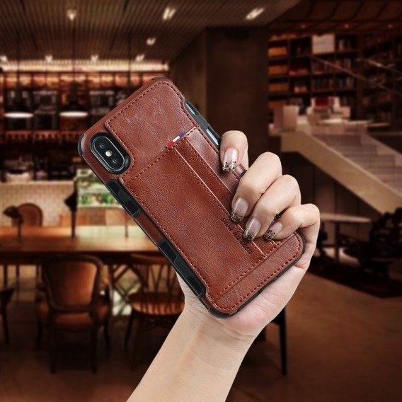 Etui Two Cards Hybrid Case iPhone XS / X 5.8 - Brown