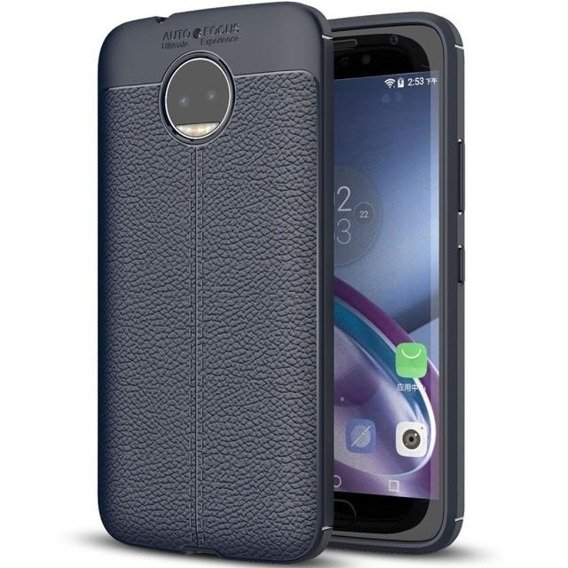 Granatowe Etui Football Grain TPU Case Motorola Moto G5S Plus
